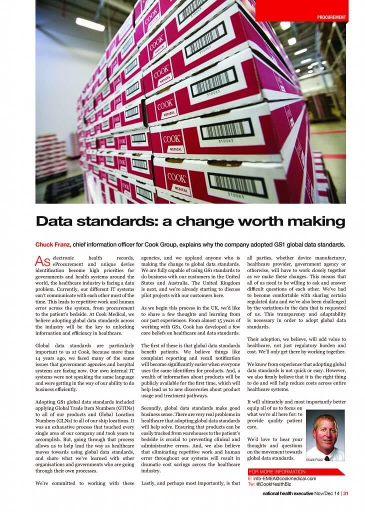 global data standards, Cook Medical adoption, GTIN
